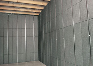 SilverGlo™ insulation and metal studs making up our Basement to Beautiful™ panels.  Installed in Two Harbors.