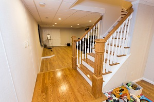 Finishing touches for a remodeled basement in Minneapolis
