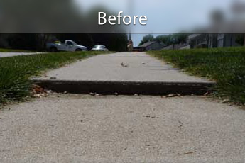 Repairing settled concrete slab in Duluth, MN and WI